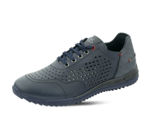 Men's shoes in dark blue leather with perforation photo