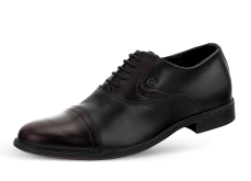 Men's official shoes with ties in black and burgundy color photo