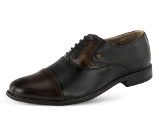 Men's formal shoes from black nappa leather photo